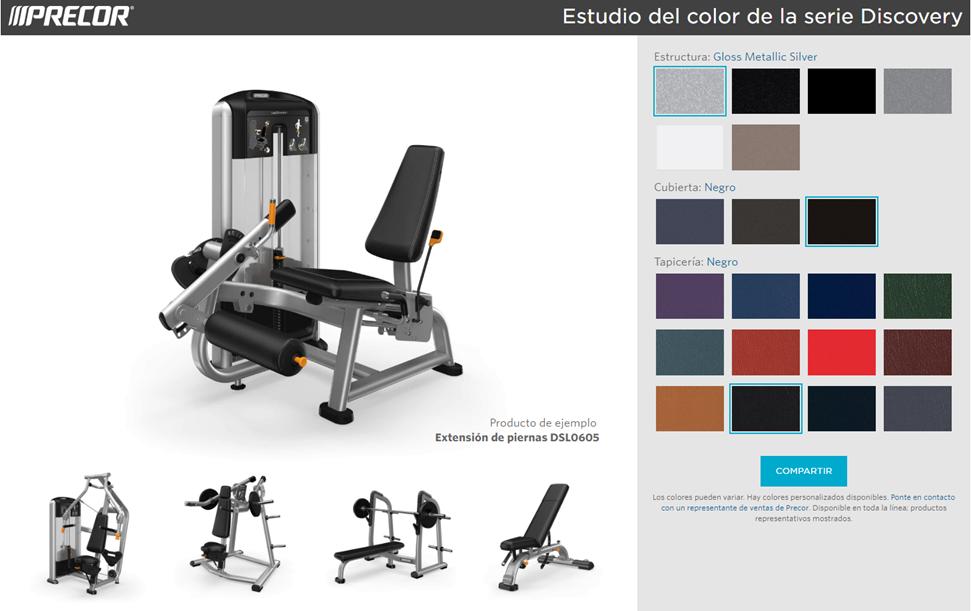 Herramienta de selección personalizada colores maquinaria gimnasios Precor